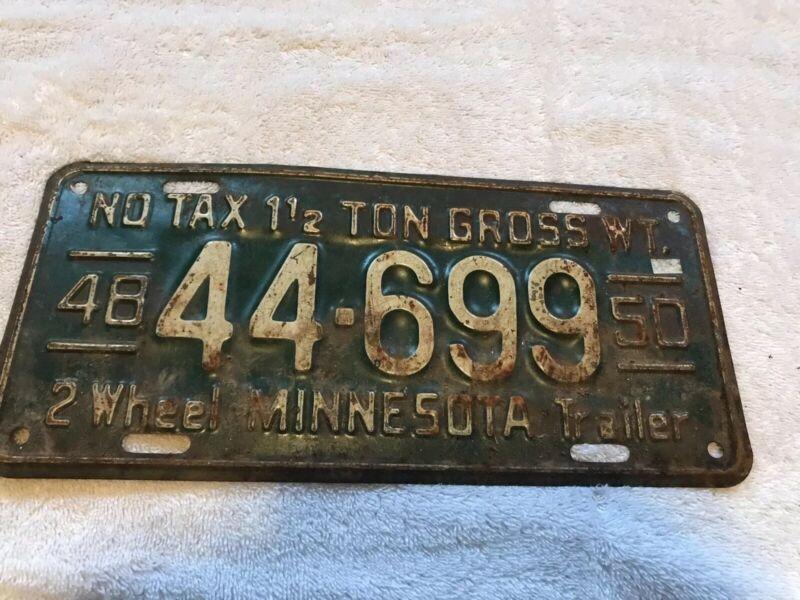 1948 MINNESOTA TRAILER LICENSE PLATE 44 699
