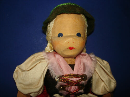 """Hand Carved 7.5"""" Lotte Sievers Hahn Wooden Ethnic Doll Germany 1929-on"""