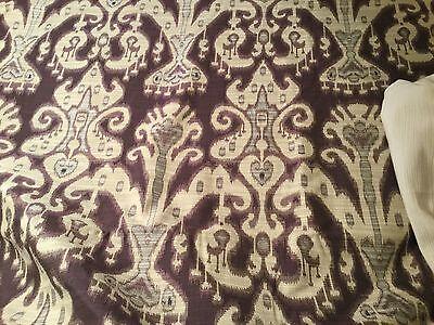"4yd KRAVET COUTURE ""Purple Beige IKAT"" Jacquard Fabric 31446.10  $968 RETAIL!"