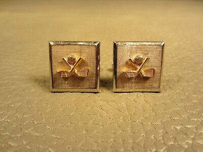 Vintage Golfer In Full Swing Reticulated White Gold Plated Cuff Links Cufflinks