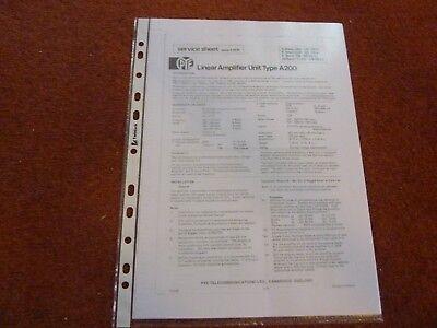 PYE - Philips A200 Linear Amplifier Service Sheet  HAM RADIO