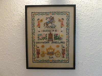 Cross Stitch **QUEEN ELIZABETH II EMBROIDERY** Picture Framed Coronation Vintage