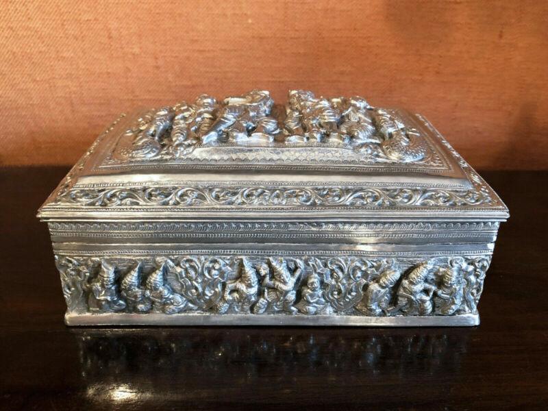 ANTIQUE Burmese repousse box in 950 silver Ramayana Burma early 1900