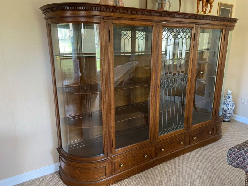 """Leaded glass display cabinet 90"""" Long 60"""" Tall 17"""" deep, and curved glass ends"""