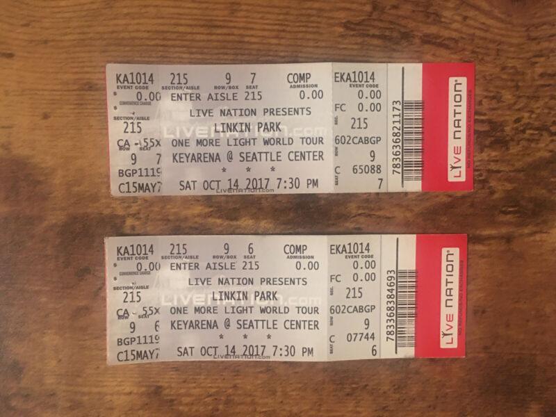 Linkin Park Tickets 2 Rare Unused Keyarena @ Seattle Center Sat Oct 14 2017