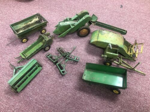Early Ertl Assorted John Deere Tractor with Impliments