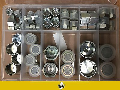 64 Pc Orfs Oring Plug And Cap Hydraulic Flat Face Seal Fittings Ors Kit 4-16