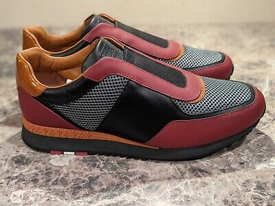 NEW BALLY ASMUND RED BLACK BROWN LEATHER SLIP ON SNEAKERS TRAINERS US 8.5 EU 7.5