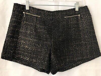 Women's FOREVER 21 Dressy Club Metallic Short Booty Shorts Exposed Zipper Pocket - Metallic Booty Shorts