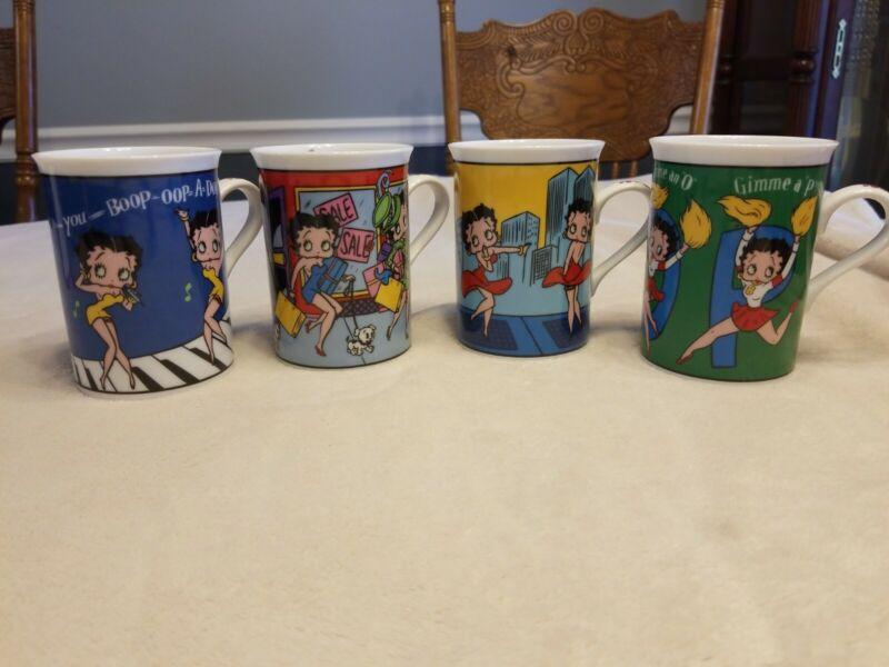 Set Of 4 Betty Boop Fine Porcelain Coffee Mugs Danbury Mint