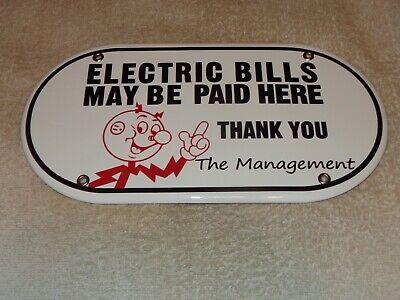"""VINTAGE ELECTRIC BILLS PAID HERE REDDY KILOWATT 11 3/4"""" PORCELAIN METAL GAS SIGN"""