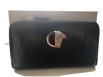 NWT Versace Collection Authentic Italian Leather Zip Around Black Wallet Clutch