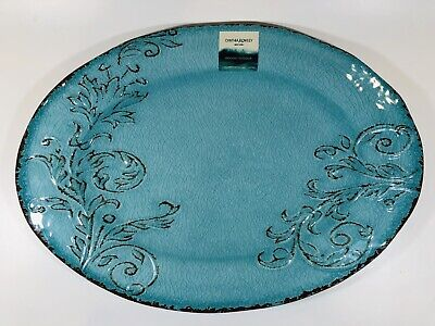 Cynthia Rowley NEW!!! MELAMINE Floral OVAL SERVING PLATTER TRAY Crackle - Blue Oval Melamine Platter