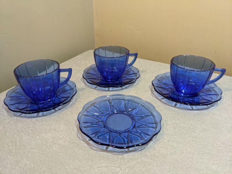 Set of 3 Depression Glass Newport Hairpin Cobalt Cups & Saucers + extra saucer