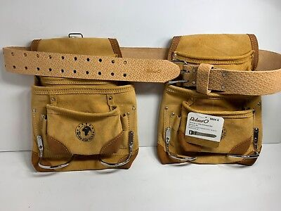 Heavy Leather Tool - 2 10 POCKET HEAVY DUTY TAN SUEDE LEATHER NAIL AND TOOL POUCH WITH BELT