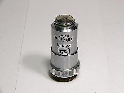 Microscope Objective Pzo 100 13 C04374 Oil Immersion 160 017 Poland
