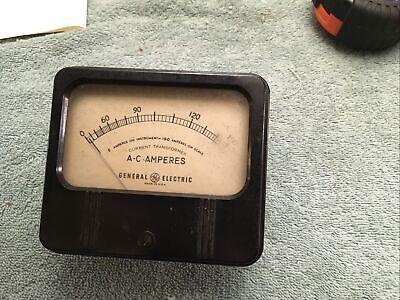 Vintage Radio Panel Meter Ge Ac Amperes 0-150 Me6