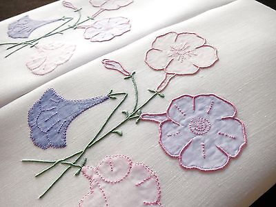 PETUNIA Vintage MARGHAB Madeira Hand Embroidery Linen PAIR Guest Hand Towels