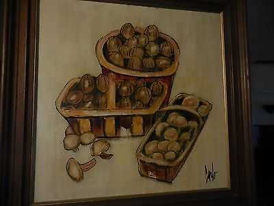Carlo of Hollywood Vintage Acrylic Canvas Painting Mushrooms in Basket Signed