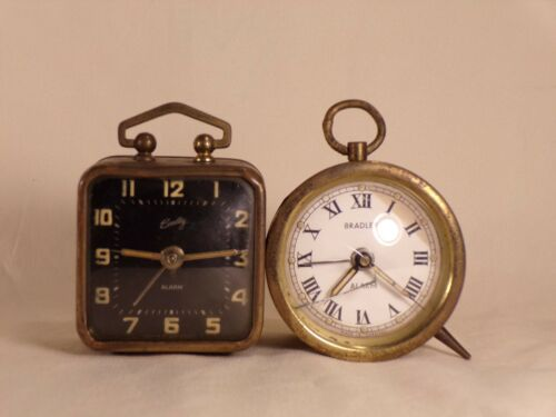 2 Small Bradley Wind-Up Alarm Clock West Germany
