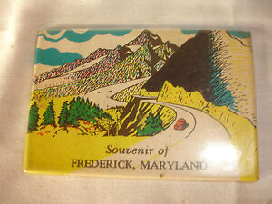 Collectible-Souvenir-Of-Frederick-Maryland-Pocket-Mirror-Mountains-Road