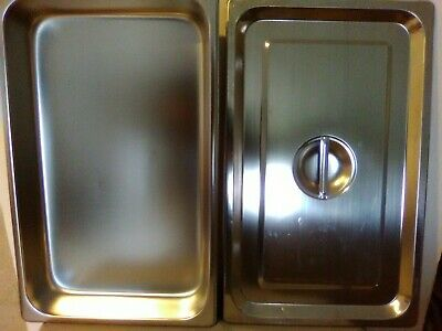 Steam Table Pan Full-size X 2 With Flat Cover Stainless Steel New