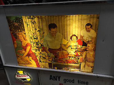 FALSTAFF BEER LIGHTED REVOLVING ADVERTISING SIGN WORKING CONDITION super rare!!!