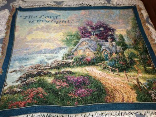 Thomas Kinkade Tapestry Throw Blanket 60x49 Psalm 27 1 - $19.20