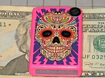 A NEW ZIPPO USA Windproof Lighter Sugar Skull with Lighting Bolts Neon Pink Case