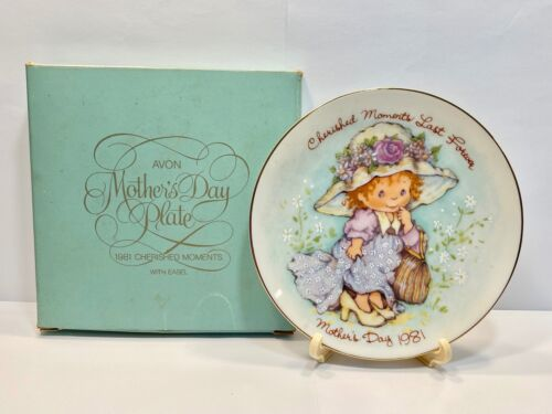 """Vintage Avon """"NOS """" 1981 Cherished Moments Mothers Day Plate With Stand *In Box*"""