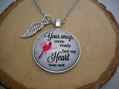 Your Wings were Ready Cardinal Cabochon Glass Pendant Silver Chain Necklace