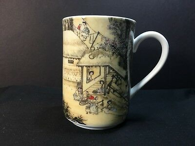 MUG COFFEE TEA WEAVING TEXTILE CRAFT SCENES HANKOOK FINE CHINA DW MW OVEN SAFE
