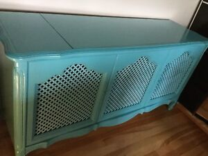 Blue tv console table
