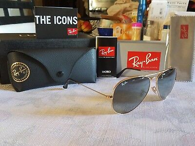 NEW RAY BAN AVIATOR RB3025 ( 181/71 ) METAL GOLD  / GREY GRADIENT SIZE (Ray Ban Aviator Size 62mm)
