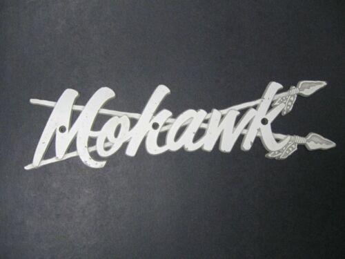 """RARE ~ MOHAWK EMBLEM ~ METAL ~ 10"""" x 2 1/2"""" ~ BOAT"""