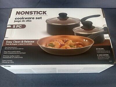 BRADSHAW NONSTICK 5 PC COPPER LINED COOKWARE SET, FRY PAN AND 2 POTS WITH LIDS