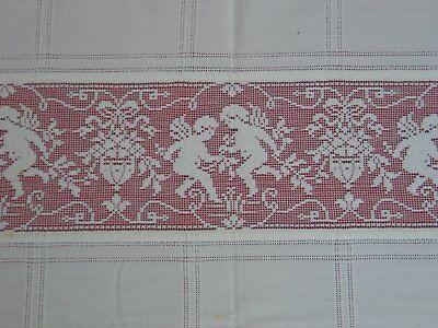 Gorgeous Antique Vintage Cupids-Angels Linen & Net Lace Bedspread~Coverlet