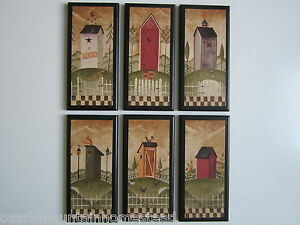 Outhouses 6 Plaques Country Rustic Bathroom Wall Decor Signs Primitive