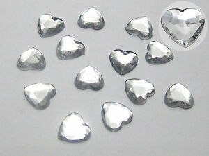 500-Clear-Acrylic-Faceted-Heart-Flatback-Rhinestone-Beads-8X8mm-Flat-Back