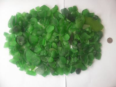 BEACH SEA GLASS SURF TUMBLED GREEN  LOT OVER 200 PIECES