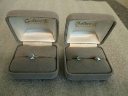 SET (2) 14K YELLOW GOLD BLUE TOPAZ RING & EARRINGS 4 PRONG SOLITAIRE Size 5.75