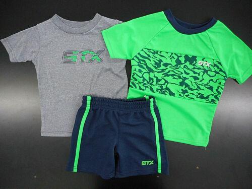 Toddler Boys STX $32 Athletic Gray & Green T-Shirts & Shorts 3PC Set Sz 2T - 4T