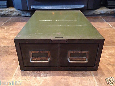 Metal Card Index File Cabinet 2 Drawer Green Philadelphia Pa.