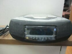 Emerson Am/FM Stereo CD Clock Radio with Dual Alarms CKD9908, Silver & Black