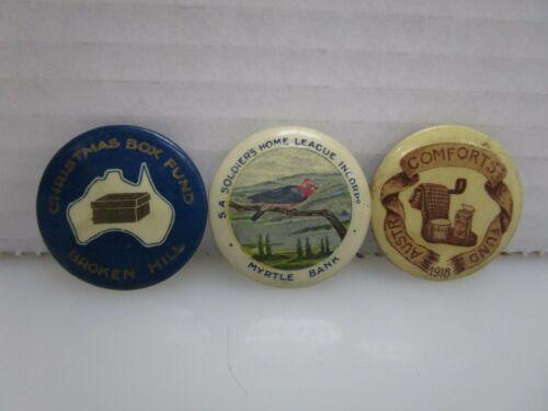 Lot of 3 Antique World War 1 WWI Era Australian Pin Back Buttons (CB)