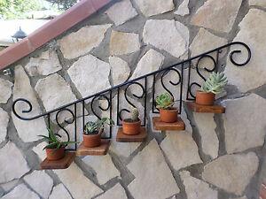 Porta vaso piante fiori fioriera mensola in ferro battuto - Porta finestra in pianta ...
