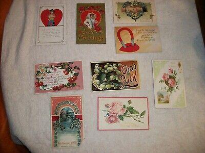 9 Vintage Misc Post Cards - 4 Valentine - 3 Good Luck/Best Wishes - 2 Birthday
