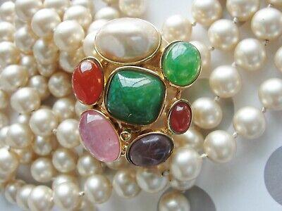 Pearl Clasp Gems (Estate CINER Double Strand Glass Pearl & Lg Gem Stone Clasp Rose Quartz Peking )