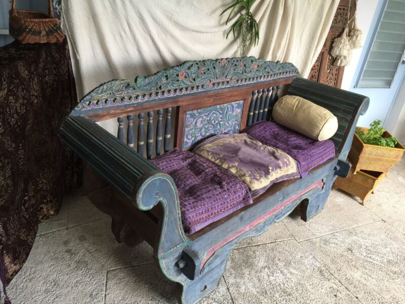 SALE *ANTIQUE INDONESIAN TEAK SOFA*HAND PAINTED CARVED WOOD*ROLLED ARMS*WHEELS