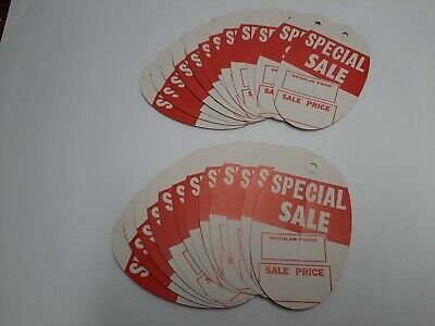 Vintage 60s - 70s Retro Sale Price Tags - Red And White Qty 24